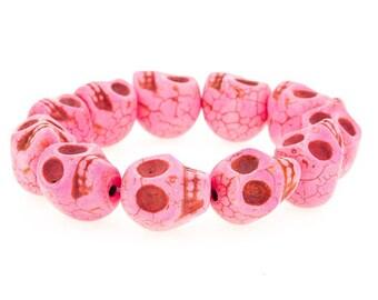 Day of the Dead Jewelry Howlite Skull Bracelet-Pink (Large Skulls)
