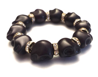 Day of the Dead Jewelry Howlite Skull Bracelet-Black (Large Skulls)