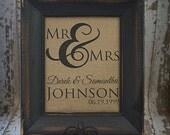 Mr & Mrs Ampersand Personalized Burlap Wall Art Wedding Anniversary house warming gift