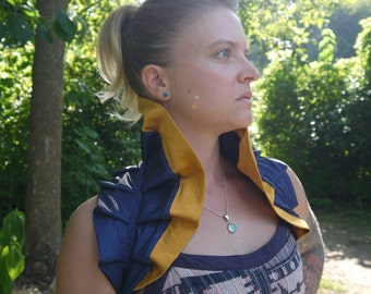 Navy and Gold High Collar Tie-On Ruffle Shrug Wrap