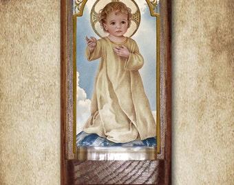 "Savior of the World Holy Water Font, Oak, Catholic, 7.5"" x 3.5"", Free Shipping"