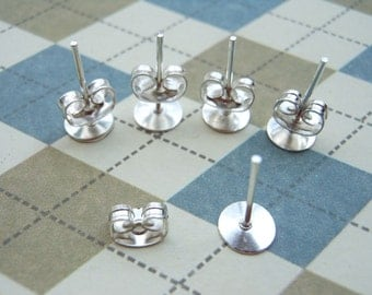 100pcs Surgical Steel Stud Earnuts and 6mm Flat Pads,Silver Earring Posts with Back Stoppers