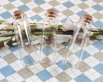 10pcs  22x70mm Mini glass bottles with corks