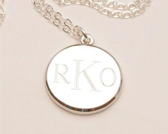 Medium Custom Engraved Monogram Charm Necklace, Personalized Bridesmaid Gift, Flower Girl, Personalized Jewelry
