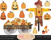 Instant Download - Halloween Pumpkins Clipart, Pumpkin Wagon, Scarecrow Clip Art - Pumpkin Patch - Autumn Clipart