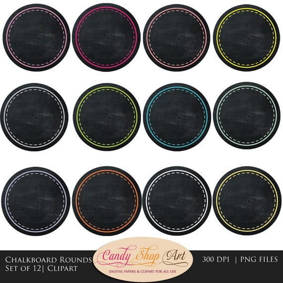 Instant Download - Chalkboard Circles Clip art, Chalkboard Labels and ...