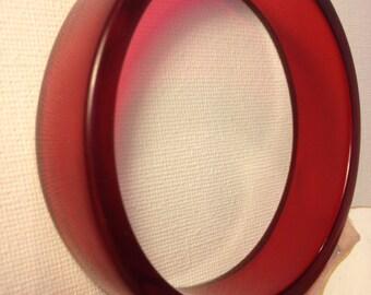 Resin handmade red translucent bangle