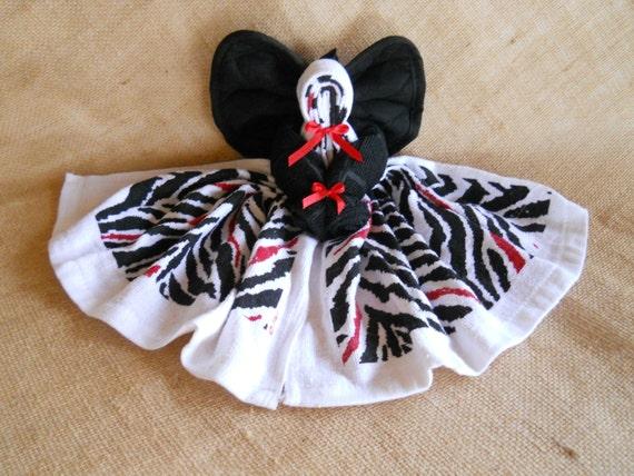 Zebra Dish Towel Angel Red White Black Angel By