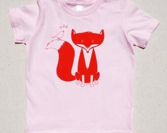 Fox Kid's T Shirt, Orange, Pink, 2T