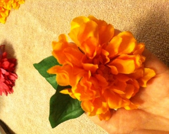 Orange Faux Flower Hair Clip/Accessory with Leaves
