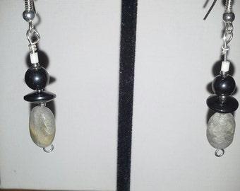 Labradorite Puff Ovals with Hematite