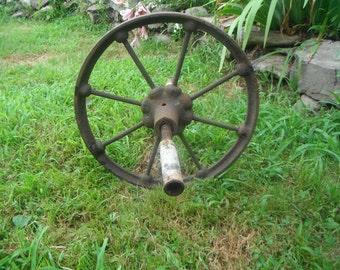 Antique Ornate Cast Iron Rusty wheel