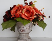 Orange, Cream and Burgundy Silk Fall Floral Centerpiece