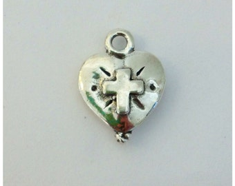 Two Sided Sterling Silver HEART FAITH CHARM