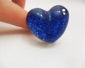 Handmade Blue Glitter Heart Adjustable Ring