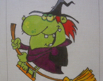 "HALLOWEEN Needlepoint Canvas - ""Funny Witch"" -  Hand Painted"