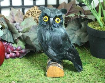 Black Realistic Medium Feather Owl Bird Figurine Owls Furry Animal Bird