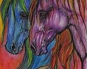 rainbow colored horses, equine art, equestrian,  original pen and watercolor pencils painting