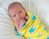 yellow with blue and green stars swaddle blanket. boy. Soothing blanket. Stroller blanket. Lightweight summer swaddler. receiving