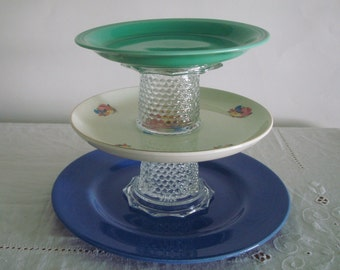 Vintage 3 Tier SERVING PLATE STAND with Hobnail Glass: Cottage Chic Blue Green Cream Floral & Fruit, Cavitt Shaw, Metlox Plates