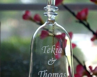 custom hand-engraved crystal celebration bell for weddings and anniversaries, baby showers, etc