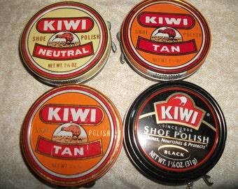 Four Vintage Kiwi Shoe Polish Tins