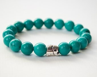 Turquoise bracelet, silver elephant bracelet, gemstone bracelet, elephant jewelry, turquoise jewelry, stackable bracelet, gifts for her