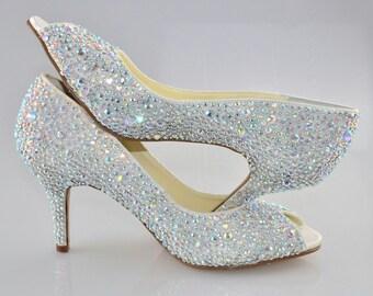 Swarovski ab multi Crystal Glitter Bridal Wedding Mid Heel Peeptoe Ivory Satin Pump
