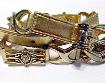 Vintage 90s Captiva Golden Leather & Metal Embellished Floral Metal Links Belt