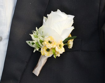 wedding boutonniere artificial rose
