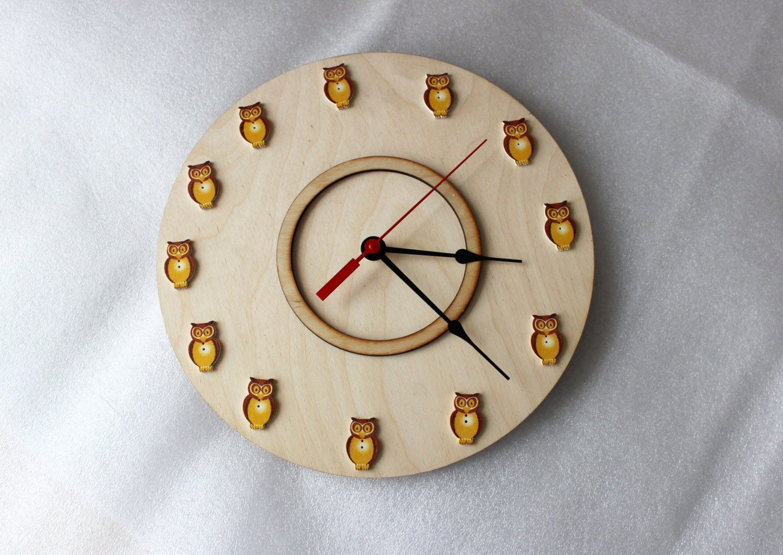 Modern Wall Clock Wall Clock Kids Room Yellow Owl Wall