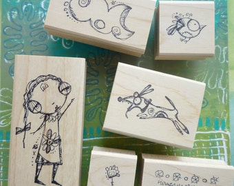 """Lucy Loves Life """"A"""" - Set of Six  Wood Mounted Rubber Stamps by Sunny Carvalho for Rubbermoon"""