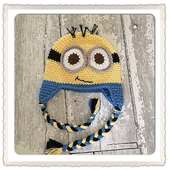 Crochet Hat Minion Inspired hat, newborn to Adult sizing, Made to Order