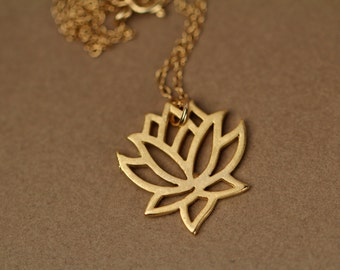 Lotus necklace - gold lotus flower - yoga necklace - flower necklace - a little 22k gold plated lotus flower on a 14k gold vermeil chain