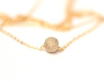 Tiny gold ball necklace - tiny gold bead necklace - delicate gold necklace - tiny gold solitaire necklace - bridal necklace