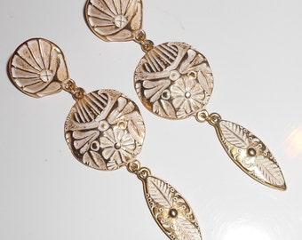 Vintage Alaskan pierced earrings feathers and seashells metal earrings Wedding Jewelry Artist Marked