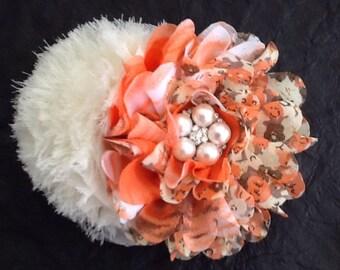 Orange hair clip, vintage inspired floral print with off white, hair accessory, girls hair flower, hair accessory, fall hair clip
