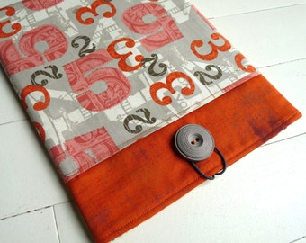 iPad Case, iPad Sleeve, iPad Cover - iPad 2 Sleeve  iPad 3 Sleeve - iPad 4 Sleeve - Apple iPad - Orange/Grey Numbers