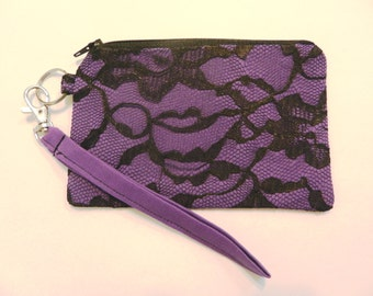 Purple with Black Lace Zippered Wristlet Purse