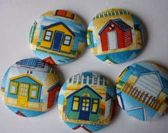 Beach Hut fabric covered button fridge magnets set of 5 in gift tin