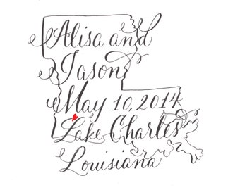 Custom Calligraphy Save the Date - State Theme