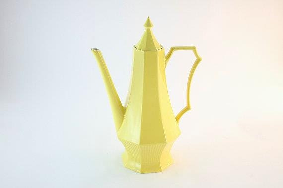 Tall Independence Ironstone Coffee or Teapot by Interpace, Pretty Yellow Coffee Pot Made in Japan