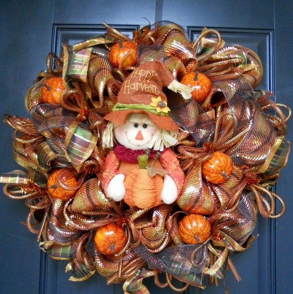 20 off promo code fall harvest wreath w free wreath hanger - Thanksgiving decorations on sale ...