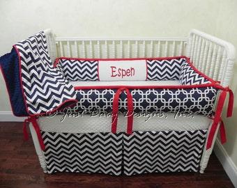 Custom Crib Bedding Set Espen - Boy Baby Bedding, Navy & Red Baby Bedding