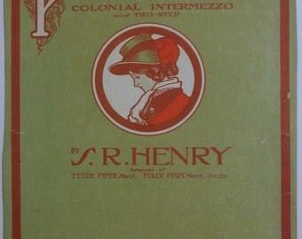 """1905 Antique Sheet Music """"Priscilla"""" Colonial Intermezzo and Two-Step 11 x 14"""