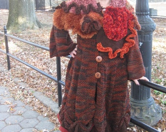 50% off! Limited time only!  HandKnitted Winter sweater Coat  jacket in autumn colors