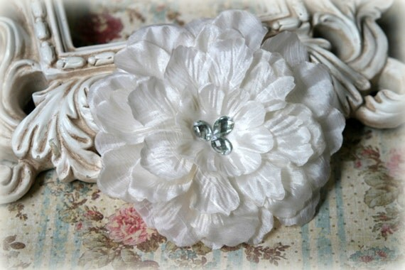Ivory Fabric Flowers with Diamond Shaped Crystal Beads in the Center for Millinery, Headbands, Crafts Approx. 4.50 inches across FL-055