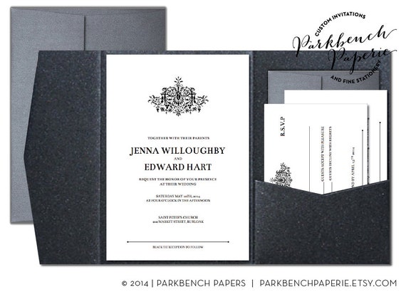 Wedding Gift Card Template Word : ... card, and Insert Card- Pocket Fold - Antique Flourish - Word Template