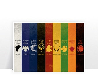 Game of Thrones - Main Houses V1 - MANY SIZES - Modern Retro Vintage GoT House Sigil Stark Lannister Character Nine Typography Art Print