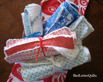Handmade Kitchen Towels 3 Pc Set - Chenille Dish Cloth & Mat - Blue Hawaiian or RicRac YOU CHOOSE